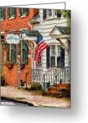 Thank You Greeting Cards - Barber - Kellers Barber Shop Greeting Card by Mike Savad