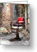 Criminals Greeting Cards - Barber Chair Greeting Card by Paul Ward