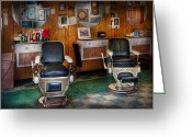 Vintage Chair Greeting Cards - Barber - Frenchtown NJ - Two old barber chairs  Greeting Card by Mike Savad