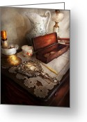 Silver Pitcher Greeting Cards - Barber - The morning ritual Greeting Card by Mike Savad