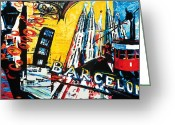 Barcelona Mixed Media Greeting Cards - Barcelona Greeting Card by Gerald Herrmann
