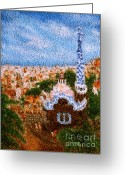 Barcelona Mixed Media Greeting Cards - Barcelona. Park Guell  Greeting Card by Nina Nabokov