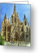 Sketchbook Greeting Cards - Barcelona Spain Greeting Card by Irina Sztukowski