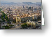 Structures Greeting Cards - Barcelona With Tree-lined Las Ramblas Greeting Card by Annie Griffiths