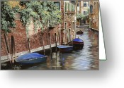 Landscape Greeting Cards - Barche A Venezia Greeting Card by Guido Borelli