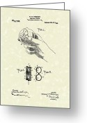 Baseball Artwork Greeting Cards - Bare Ball Curver 1909 Patent Art Greeting Card by Prior Art Design