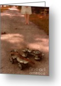 Roller Skates Greeting Cards - Barefoot Girl on Sidewalk with Roller Skates Greeting Card by Jill Battaglia