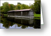 Erie Barge Canal Greeting Cards - Barge House on the Erie Canal Greeting Card by David Lee Thompson