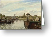 Bougival Greeting Cards - Barge on the Seine at Bougival Greeting Card by Camille Pissarro