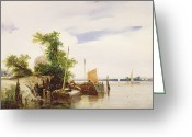 Signed Greeting Cards - Barges on a River Greeting Card by Richard Parkes Bonington