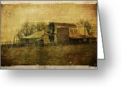 Western Digital Art Greeting Cards - Barn 3 Greeting Card by Toni Hopper