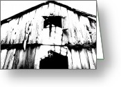 Black And White Barn Greeting Cards - Barn Greeting Card by Amanda Barcon