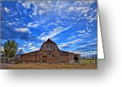 Mountains Photographs Greeting Cards - Barn and clouds Greeting Card by Matt Suess