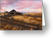 Kamloops Greeting Cards - Barn and Field 1 Greeting Card by Peter Olsen