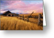 Kamloops Greeting Cards - Barn and Field 2 Greeting Card by Peter Olsen