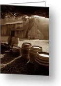 Old Barns Photo Greeting Cards - Barn and Wine Barrels 2 Greeting Card by Kathy Yates