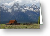 Grand Tetons National Park Greeting Cards - Barn Beneath Grand Teton Greeting Card by Alan Lenk