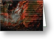 Barn Art Digital Art Greeting Cards - Barn Burning Greeting Card by Jack Zulli