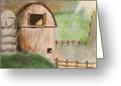 Color Ceramics Greeting Cards - Barn Greeting Card by Gail Schmiedlin
