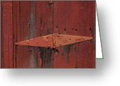 Red Door Greeting Cards - Barn hinge Greeting Card by Garry Gay