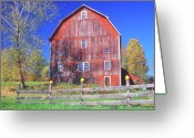 Pumpkin Farm Greeting Cards - Barn in Autumn Greeting Card by John Burk
