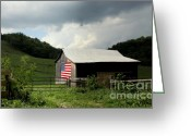 Usa Flag Greeting Cards - Barn in the USA Greeting Card by Karen Wiles