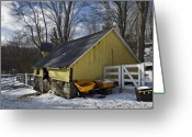 New England Digital Art Greeting Cards - Barn in Winter Greeting Card by Jack Goldberg