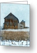 Cornfield Greeting Cards - Barn in Winter Greeting Card by Jill Battaglia