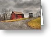 Winter Storm Greeting Cards - Barn in Winter Storm Greeting Card by Tony  Bazidlo
