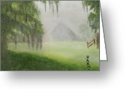 Split Rail Fence Painting Greeting Cards - Barn on Foggy Morning Greeting Card by Margaret Harmon