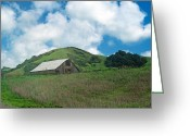 Landscapes Framed Prints Greeting Cards - Barn on the Hill Greeting Card by Kathy Yates