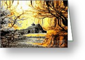 Old Farms Greeting Cards - Barn Out Back Greeting Card by Cheryl Young