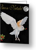 Lesvos Greeting Cards - Barn Owl Buon Natale Merry Christmas Greeting Card by Eric Kempson