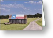 Dilapidated Greeting Cards - Barn Painted as the Texas Flag Greeting Card by Jeremy Woodhouse