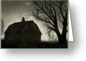 3.14 Drawings Greeting Cards - Barn Sillouette Greeting Card by Bryan Baumeister