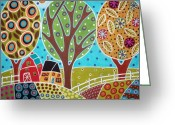 Mexican Flowers Greeting Cards - Barn Trees And Garden Greeting Card by Karla Gerard