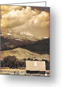 The Lightning Man Greeting Cards - Barn with a Rocky Mountain View in Sepia Greeting Card by James Bo Insogna