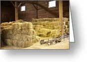 Farmhouse Greeting Cards - Barn with hay bales Greeting Card by Elena Elisseeva