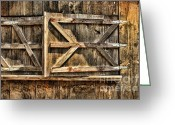 Door Hinges Greeting Cards - Barn Wood Texture Greeting Card by Joanne Coyle