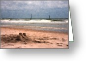 Sandcastle Greeting Cards - Barnacle Bills and the Sandcastle Greeting Card by East Coast Barrier Islands Betsy A Cutler