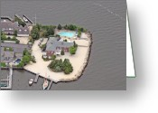 Aerials Greeting Cards - Barnegat Bay House Mantoloking New Jersey Greeting Card by Duncan Pearson