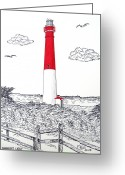 Historic Lighthouse Drawings Greeting Cards - Barnegat Light Drawing Greeting Card by Frederic Kohli