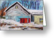 Expression Pastels Greeting Cards - Barnyard in Winter Greeting Card by John  Williams