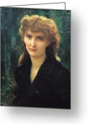 Blonde Girl Greeting Cards - Baronness Eleonore dUckermann Greeting Card by Antoine Auguste Ernest Hebert