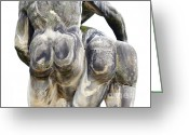 Fun Sculpture Greeting Cards - Baroque Statue - Detail - Backside Greeting Card by Michal Boubin