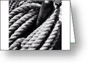 Blackandwhite Greeting Cards - Barquentine Rope Greeting Card by Natasha Marco
