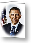 Barrack Obama Greeting Cards - Barrack Obama Greeting Card by Tyler Robbins