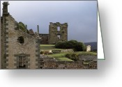 Stone Chimney Greeting Cards - Barred Windows And Stone Ruins At Port Greeting Card by Jason Edwards