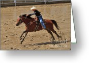 Infield Greeting Cards - Barrel Racing at the Calgary Stampede Greeting Card by Louise Heusinkveld