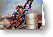 Cowboy Pastels Greeting Cards - Barrel Rider Greeting Card by Susan Jenkins